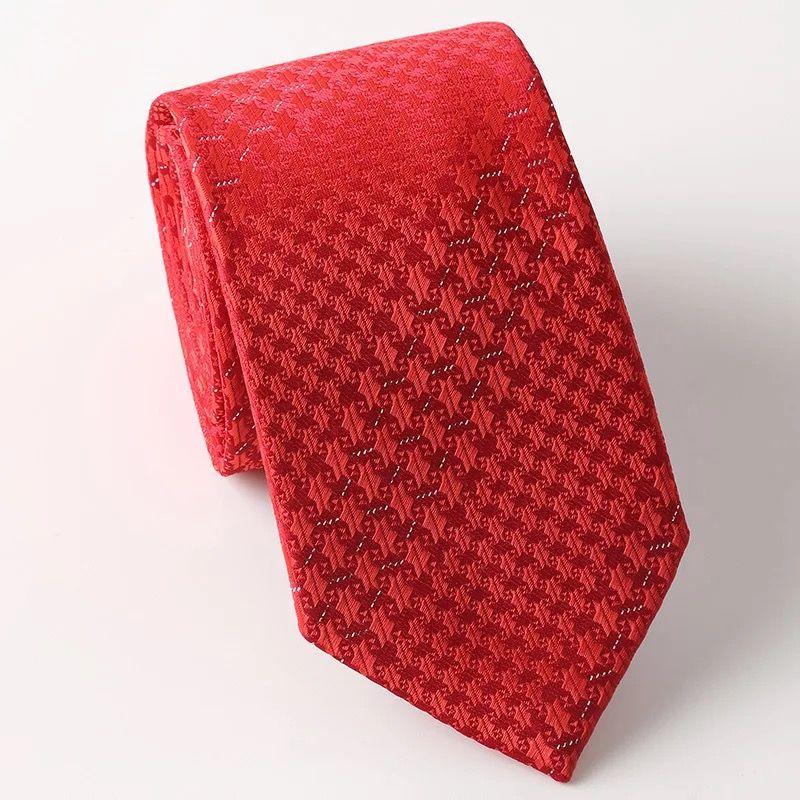 大红条纹真丝领带