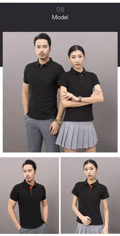 纯色翻领宣传广告衫 配色领短袖定制休闲男式东莞工装