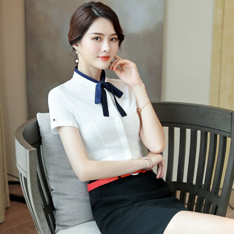 夏季新款女装白色小领职业短袖衬衫衬衣