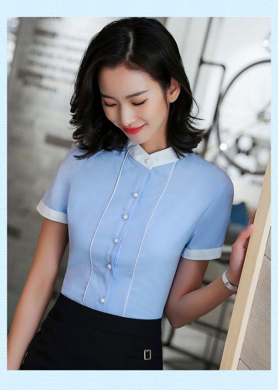 韩范衬衫女衬衣面试正装韩版百搭短袖上衣