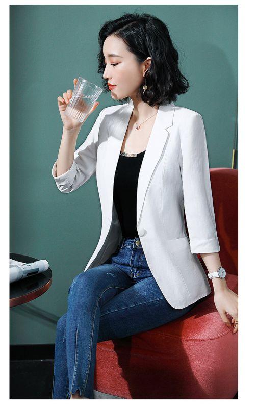 白色西装外套2019春秋新款时尚气质韩版西服职业修身美容院东莞工装