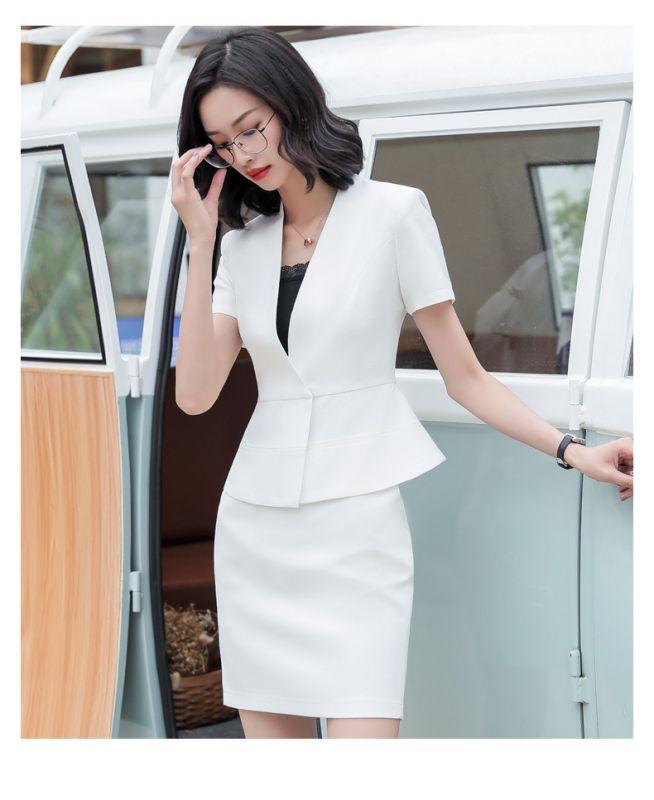 定做白领职业装女新款时尚修身小香风西装套装女春夏正装OL西服东莞工作服