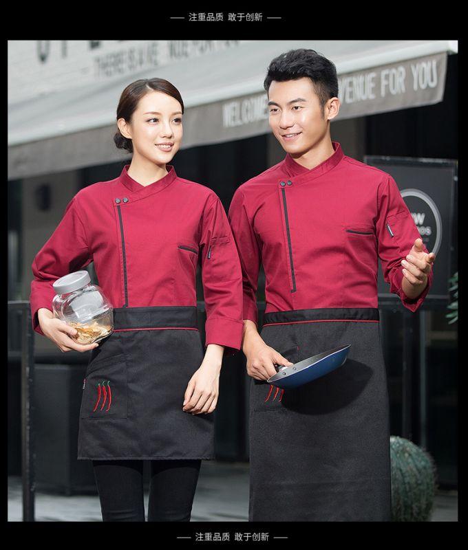 厨师服长袖 秋冬装 透气烘培 饭店蛋糕店西餐后厨师工作服男
