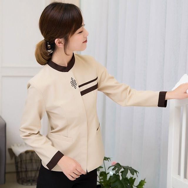 酒店工作服 秋冬装女 保洁服长袖 宾馆客房服务员物业清洁PA制服