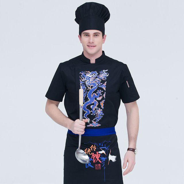 厨师服短袖工作服 酒店饭店后厨厨师长 工作服火锅店白色餐饮服装男