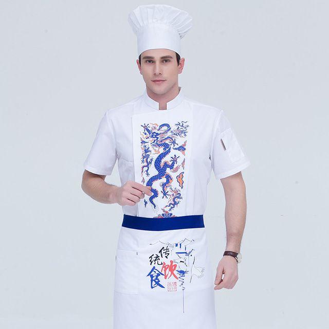 厨师服短袖东莞工作服 酒店饭店后厨厨师长 东莞工作服火锅店白色餐饮服装男