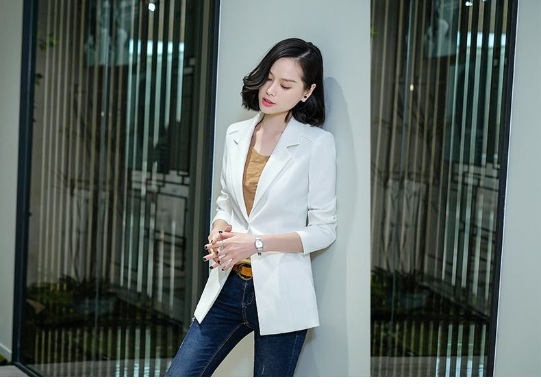秋冬新款纯色长袖西服韩版修身显瘦气质休闲商务白领一粒扣小西装