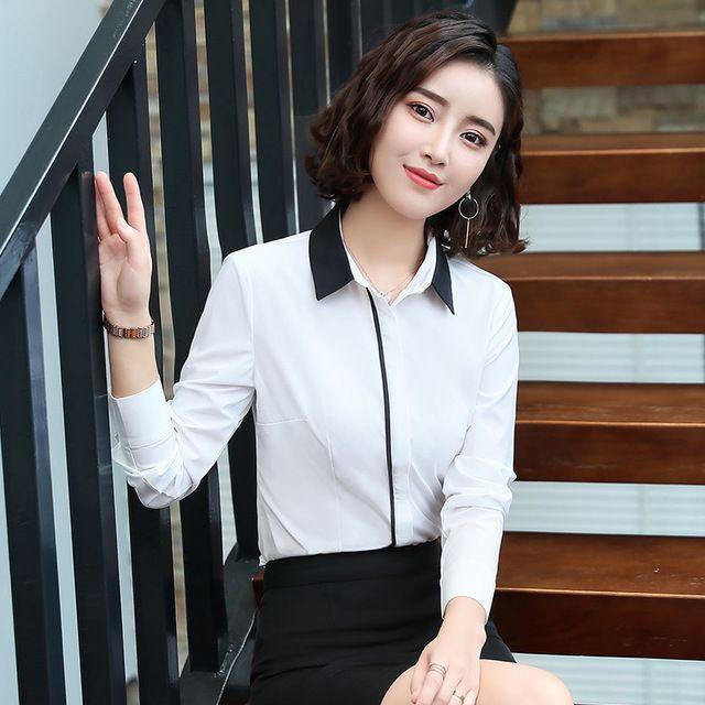 白色衬衫女长袖职业装 工作服2018新款秋装韩版修身显瘦正装 白衬衣