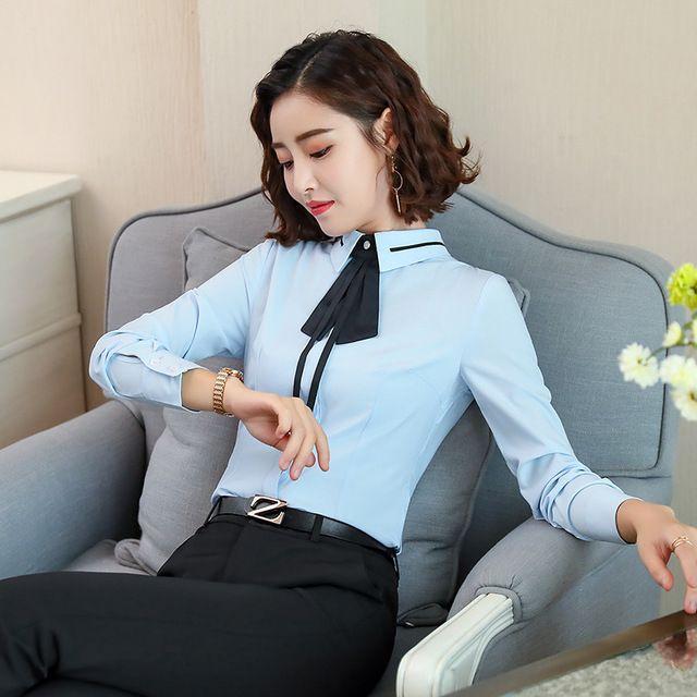2018春秋装新款纯白衬衫 女长袖职业商务白领衬衣 修身东莞工装方领寸衫
