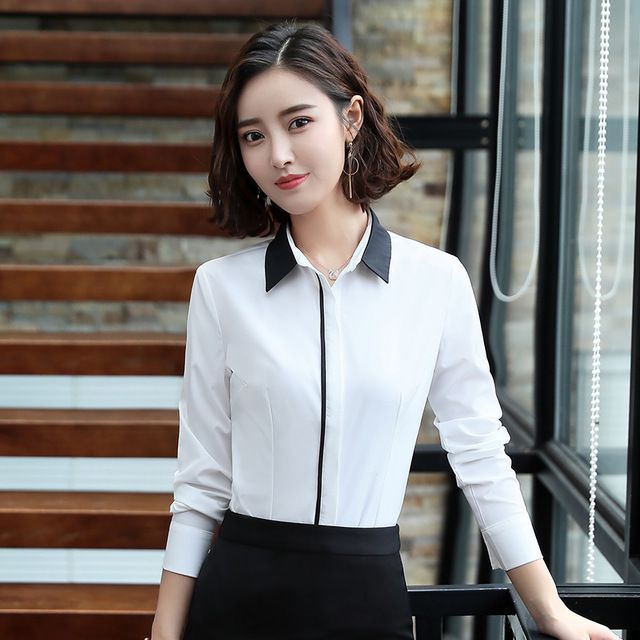白色衬衫女长袖职业装 东莞工作服2018新款秋装韩版修身显瘦正装 白衬衣