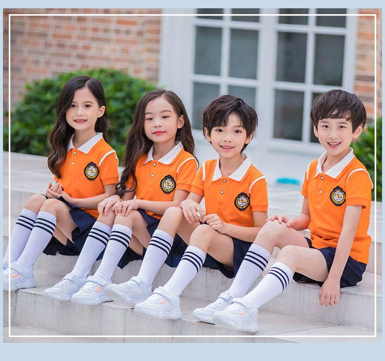 夏季幼儿园园服 夏装小学生校服 纯棉短袖运动套装 儿童班服校园风