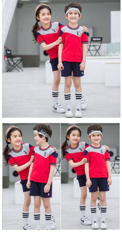 幼儿园园服夏装 纯棉短袖运动套装 小学生校服男女儿童班服英伦风