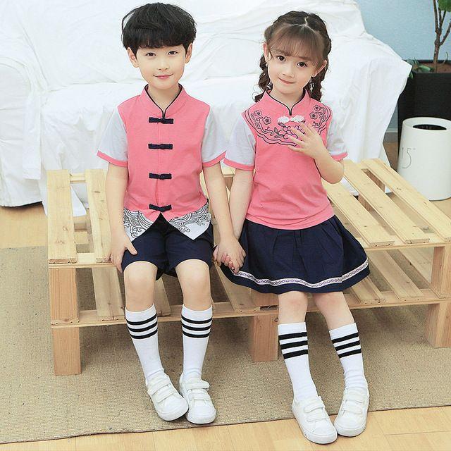 夏季新款幼儿园园服夏装 小学生校服 民族风汉服儿童班服 六一表演服
