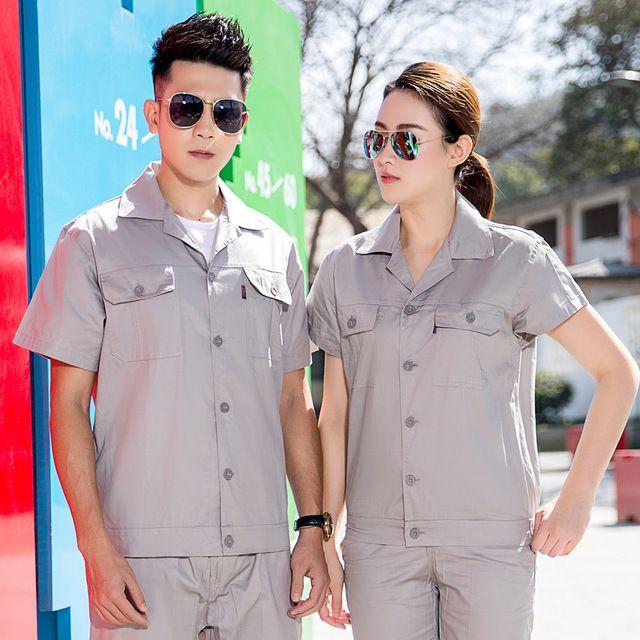 夏季短袖 纯棉工程服 套装 快递物流仓储送货员工作服 装修工劳保服