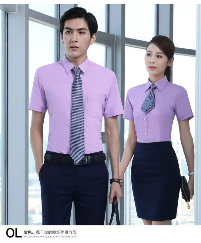 团购定制夏季男女职业装衬衫修身短袖商务同款衬衣正装工作服制服
