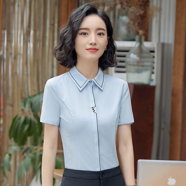 职业女白色 短袖衬衫 2018春装新款 西餐厅服务员酒店前台工作服工衣