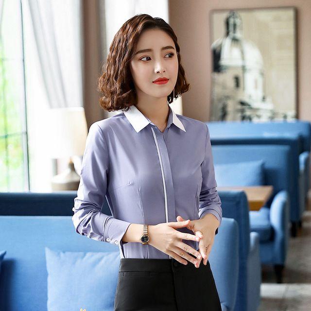 白色衬衫女长袖职业装 工作服2018新款秋装韩版修身显瘦正装