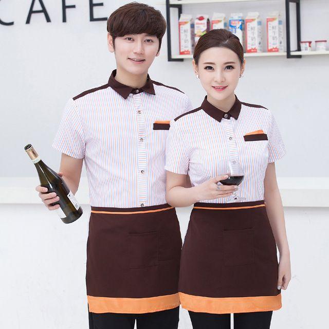 酒店工作服春夏装 餐饮火锅店西餐厅网咖啡厅服务员工作服短袖女