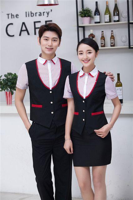 服务员马甲假两件套装 餐厅快餐咖啡店酒店工装 短袖夏季工作服