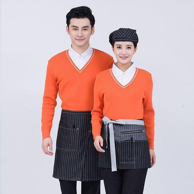工作服秋冬装 女套头针织衫 咖啡店西餐厅工装 女酒店服务员女长袖