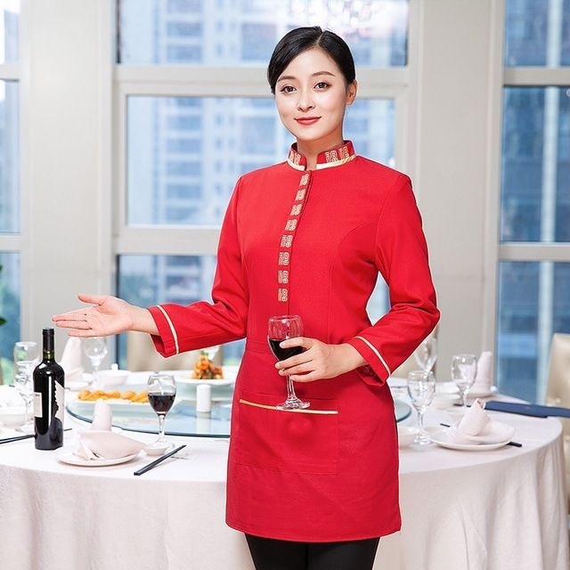 酒店工作服秋冬装 长袖女餐饮茶楼火锅饭店中餐厅农家乐服务员
