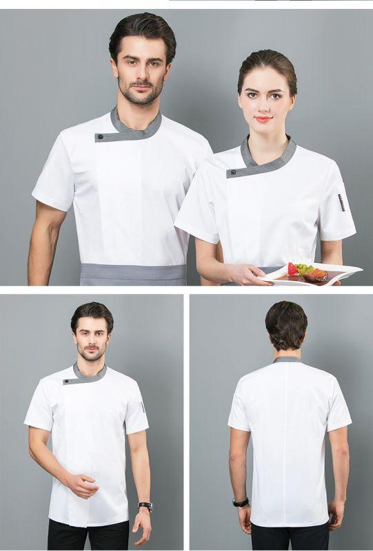 厨师工作服男短袖薄款透气 弹力牛仔面料酒店餐厅厨师服定制