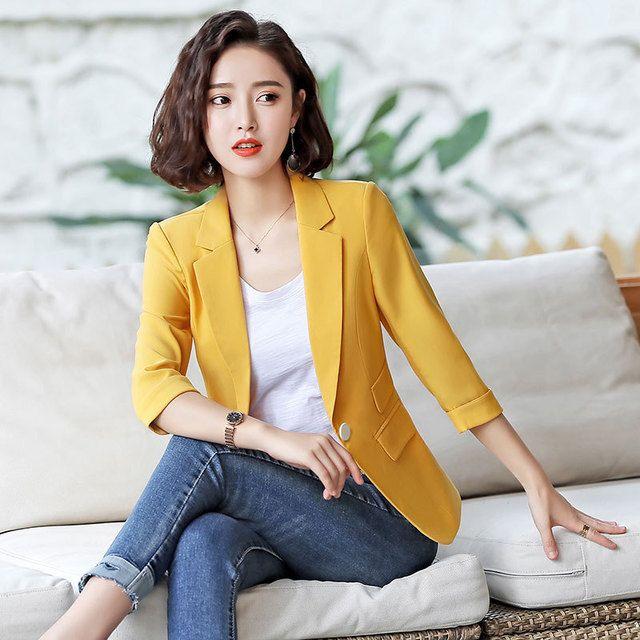 小西装外套2019新款夏季薄款韩版修身短款休闲中袖西服女士上衣