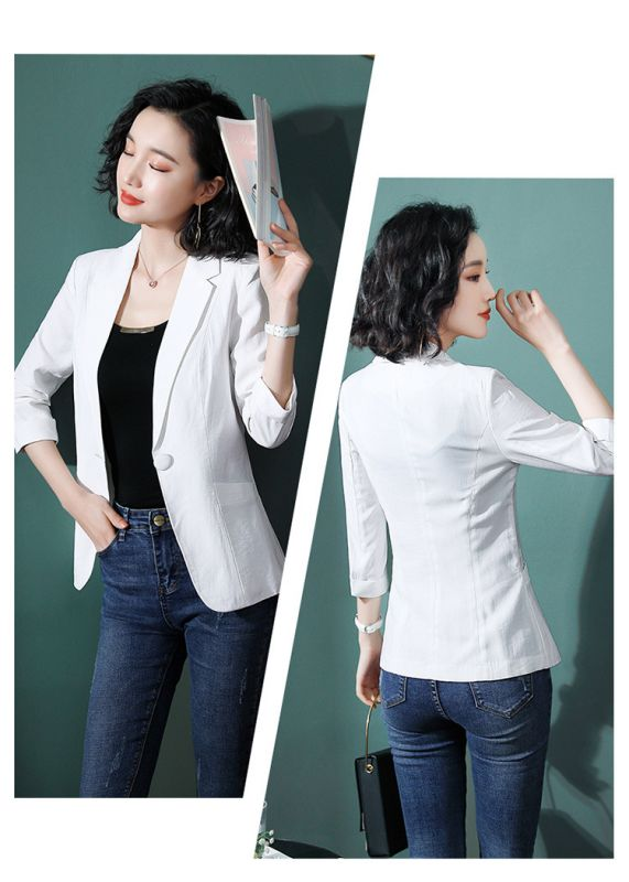 白色西装外套2019春秋新款时尚气质韩版西服职业装美容院工装