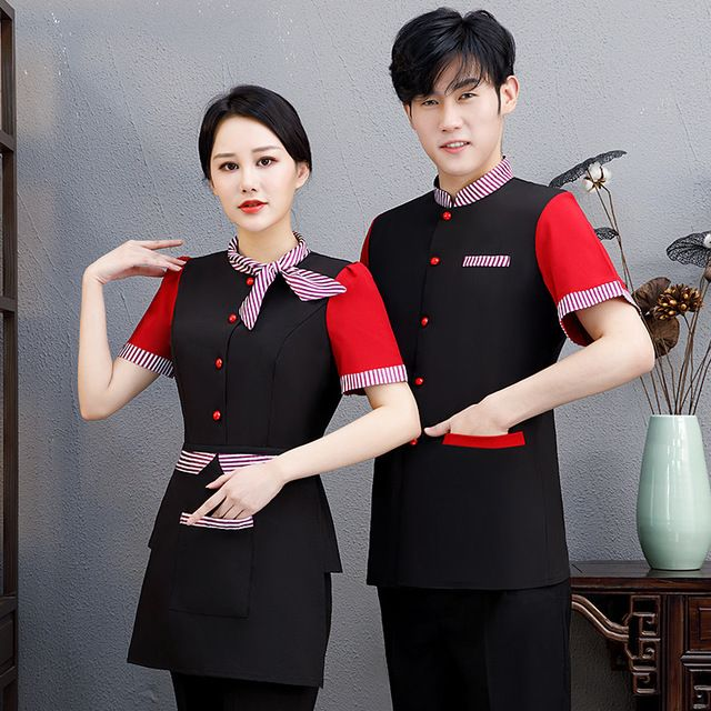 音乐餐馆夏季短袖工衣 火锅茶楼烧烤中式快餐送围裙衣服